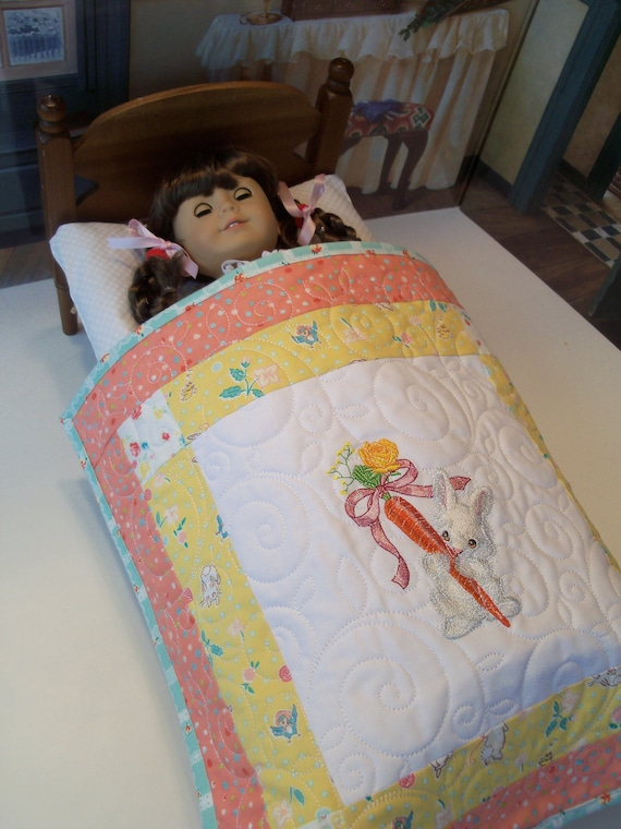"Farmcookies Embroidered Keepsake Bunny Heirloom Quilt for 18"" American Girl Doll / Like American Girl Doll Clothes and Bedding"