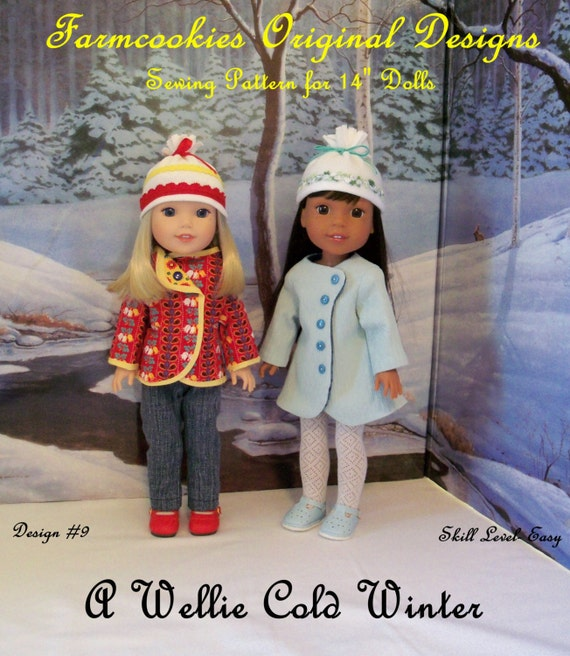 PRINTED Sewing Pattern: A Wellie Cold Winter/ Sewing Pattern Fits American Girl  Wellie Wishers®