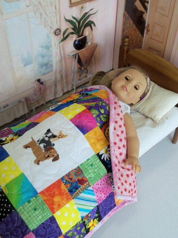 "Farmcookies Patchwork Keepsake Scrap Bag Embroidered Heirloom Quilt for 18"" American Girl Doll / Like American Girl Doll Clothes and Bedding"