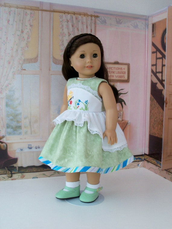 """Fits Like 18 Inch American Girl DOLL CLOTHES / Embroidered Dress with Floating  Peplum and Shoes for 18"""" Dolls"""