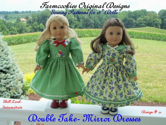 "PDF Sewing Pattern /1940's Mirror Dresses / Sewing Pattern fit American Girl® or Other 18"" Dolls"