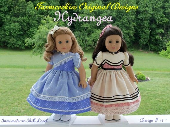 "PDF Sewing Pattern- HYDRANGEA-Fits Historical American Girl® or other 18"" Dolls"