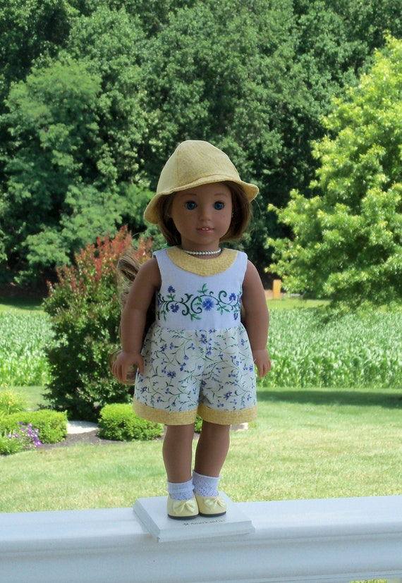 """Fits Like American Girl Doll Clothes/ Farmcookies Embroidered Romper & Hat/ 18 Inch Doll Clothes For American Girl or Other 18"""" Doll"""