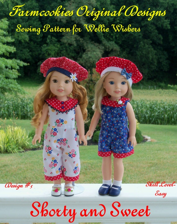 """PDF Sewing Pattern: SHORTY and SWEET/ Sewing Pattern for 14"""" American Girl  Wellie Wishers®."""