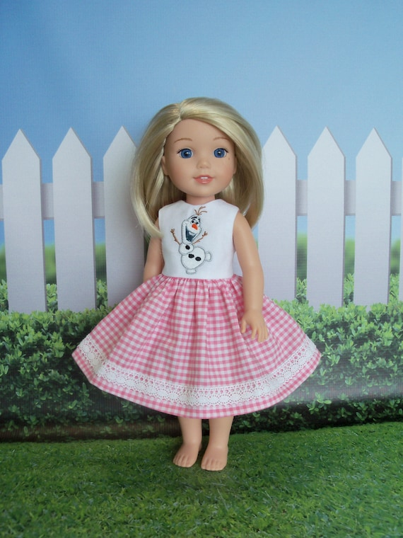 WELLIE WISHER SIZE /Fits Like American Girl Doll Clothes / Farmcookies 14 inch Wellie Wisher Holiday Dress /   14 Inch Doll Clothes