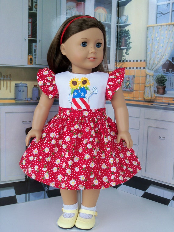 """SUMMER SALE!  Fits Like 18 Inch American Girl Doll Clothes/ Embroidered Dress  for 18"""" Dolls by Farmcookies"""