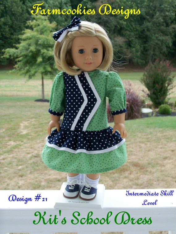 """PRINTED Pattern / Kit's School Dress/ Sewing Pattern Fits American Girl®  or other 18"""" Dolls"""