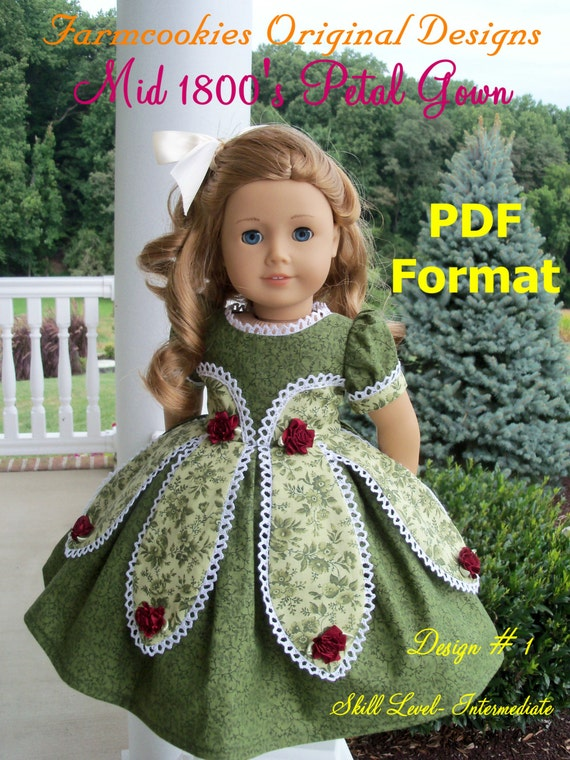 PDF SEWING PATTERN For 18 inch Doll Clothes /  Mid 1800's Petal Gown by Farmcookies /  Fits Like American Girl doll Clothes Pattern