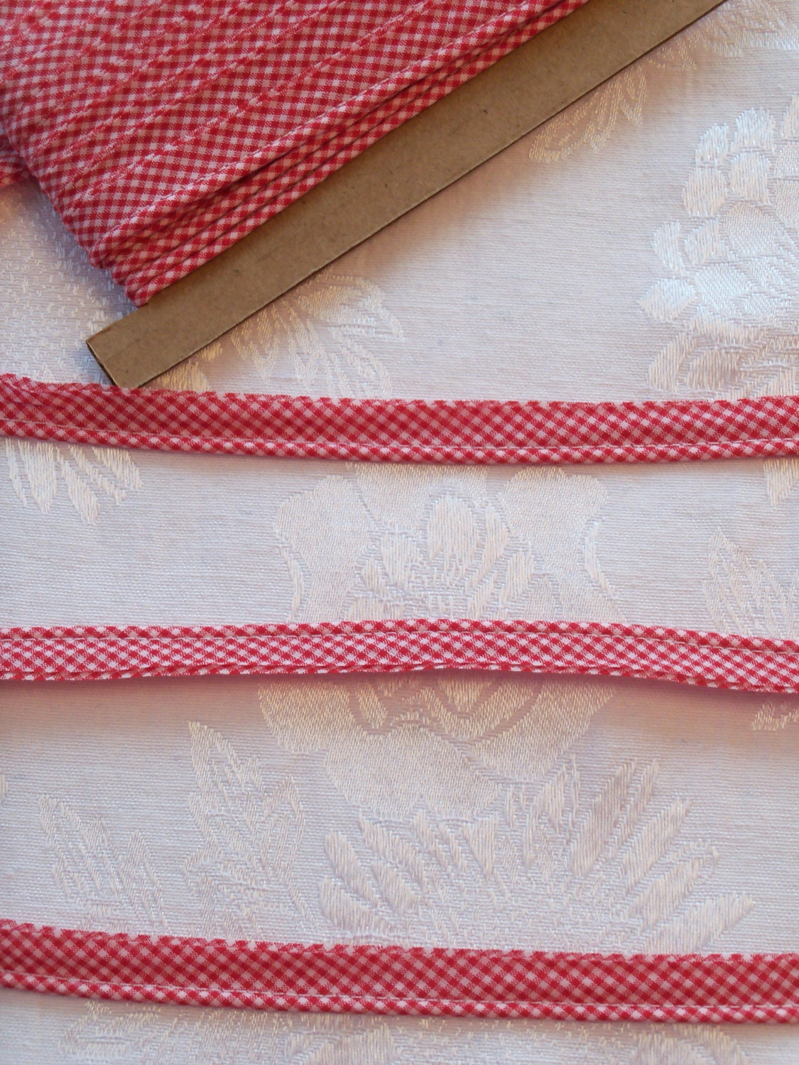 Gingham Mini Piping   Pink  Piping for Childrens Clothes  Doll Clothes  Cording 18  Overall width .5   3 Yard Package