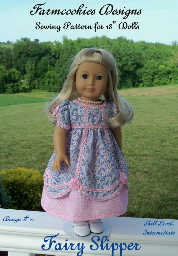PDF SEWING PATTERN  Fits Like American Girl Doll Clothes /  Fairy Slipper Regency Gown / Farmcookies 18 inch Doll Clothes by Farmcookies