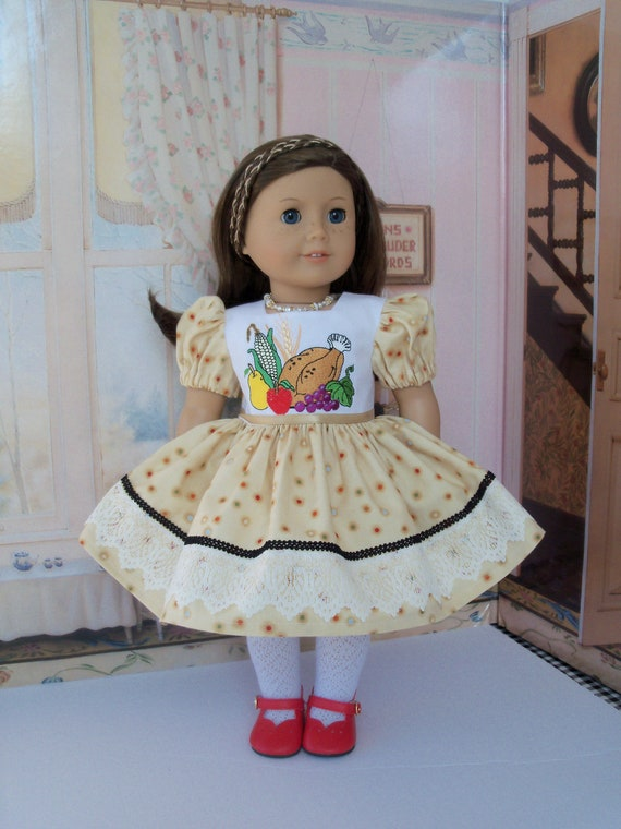 Fits Like American Girl Doll Clothes / Farmcookies Embroidered Thanksgiving Doll Dress  / 18 Inch Doll Clothes For American Girl