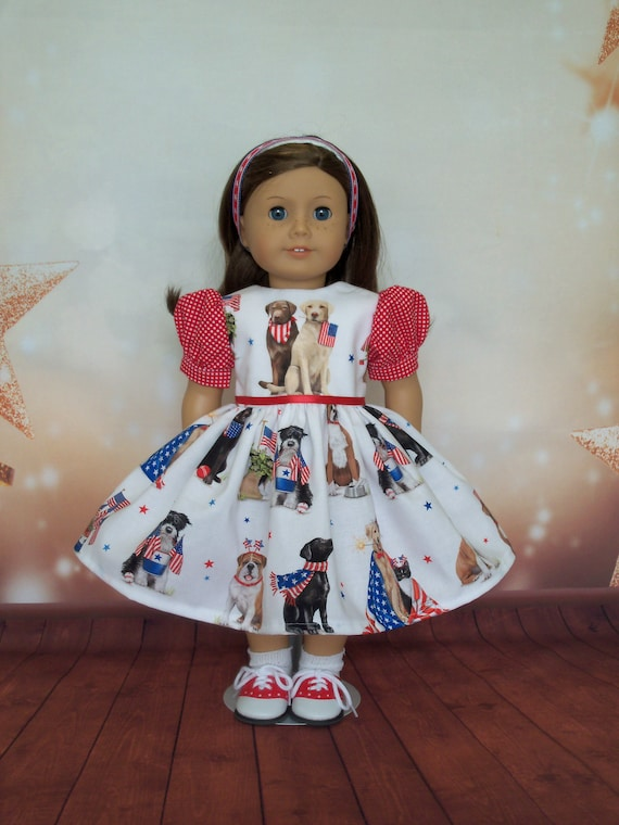40% OFF! Fits Like American Girl Doll Clothes/ Farmcookies Embroidered July 4th Doll Dress/ 18 Inch Patriotic Doll Clothes For American Girl