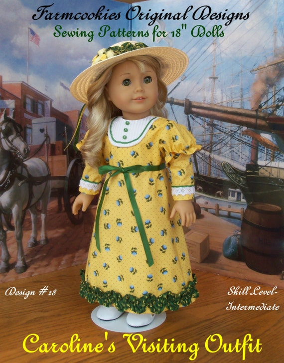 "PDF Sewing Pattern / Caroline's Visiting Gown /  Farmcookies Sewing Pattern for 18"" American Girl Dolls"