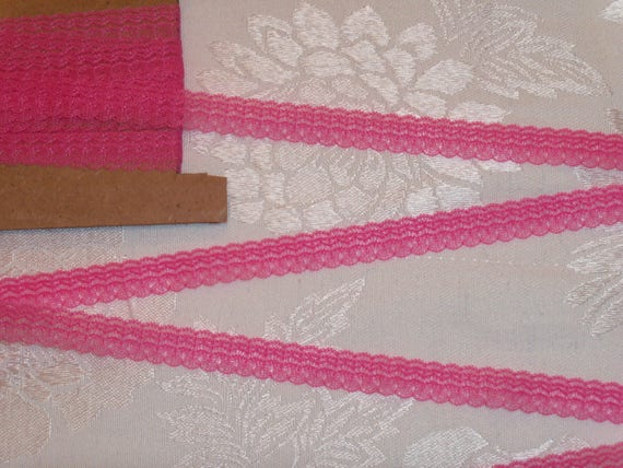 4 Yards Delicate Rose Pink Lace Trim with Tiny Scallops for  Doll Clothes / Farmcookies Narrow Lace and  Narrow Trim