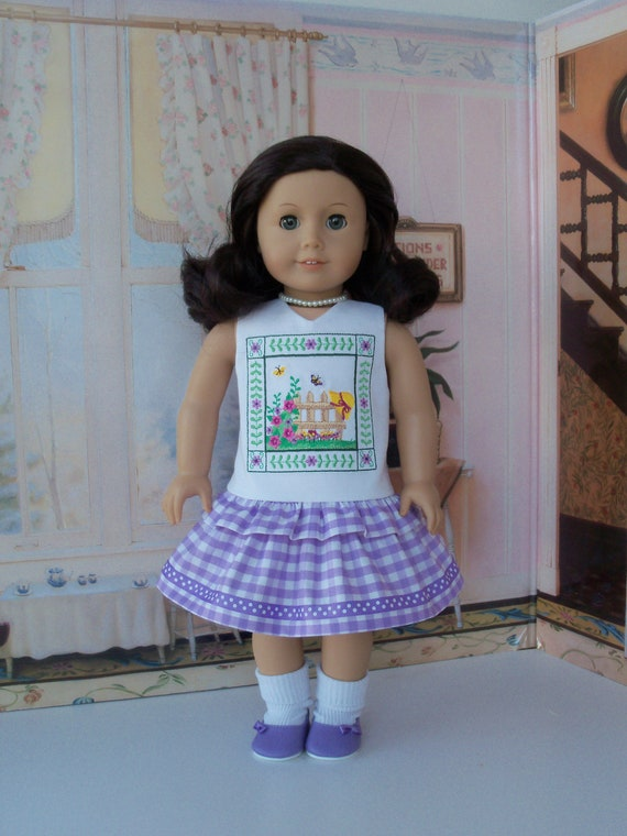 SUMMER SALE! Like American Girl Doll Clothes / Embroidered Summer Ruffle Dress / 18Inch Doll Clothes