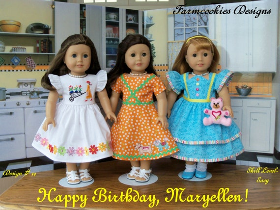 "PDF Sewing Pattern / Happy Birthday, Maryellen! / 1950's Style Pattern for 18"" Dolls/ Fits Like American Girl® Doll Clothes"