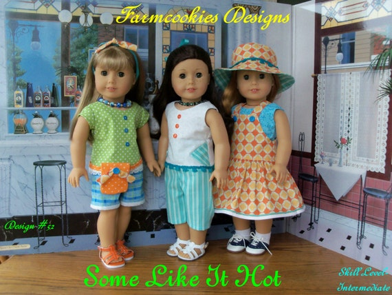 PRINTED SEWING PATTERN  Fits Like American Girl Doll Clothes / Some Like It Hot! / For American Girl or other 18 Inch Dolls