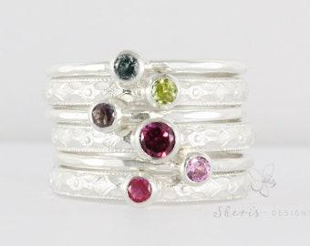 Gemstone Stacking Ring | Birthstone Mother's Stacking Ring Set | 6 Stacking Rings | Sterling silver stacking rings | Custom made