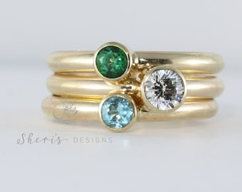 3 Gold Rings, Yellow or Rose Gold, Larger 4mm and 5mm gemstones, 14K solid gold stacking ring set, custom made ring set