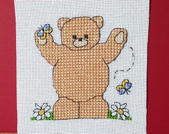 Teddy 'Amongst the Daisies and Butterflies' in Cross Stitch