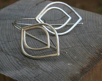Sterling silver leaf Dangle earrings Silver long earrings