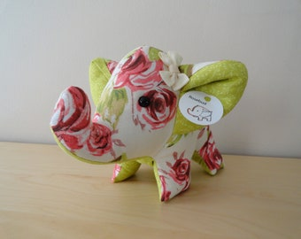 Large Stuffed Elephant- Rosebud