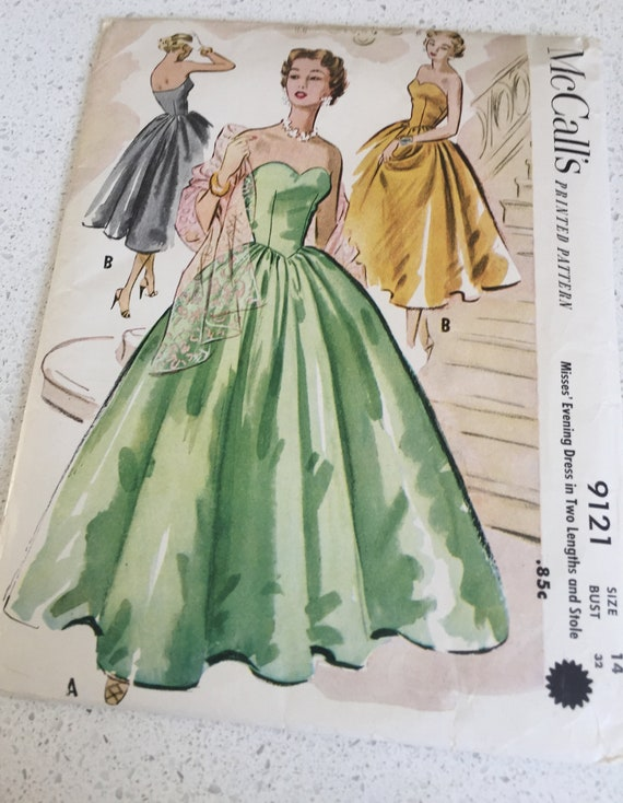 Womans Sewing Pattern McCalls 9121 Strapless Evening Gown 1952 | Etsy