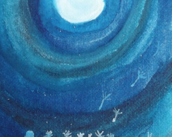 Dandelions and Moonlight. Aceo.