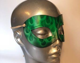 Alchemist Flame Masquerade Renaissance Faire Mask - green