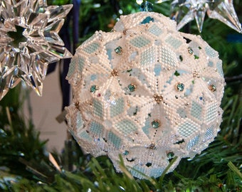 Beading Pattern - Tutorial - Christmas Ornament - Dodecahedron Snowball - Peyote Stitch - PDF download - Geometric Beading