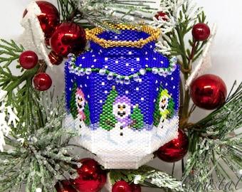 Beading Pattern - Tutorial -  Ornament - The Snowman Vase - Peyote - PDF download