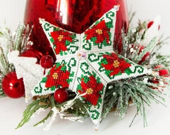 Beading Pattern - Poinsettia Star - Star - Christmas - tutorial - PDF download - Peyote