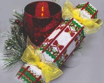 Beading Pattern - Tutorial -  Ornament - The Christmas Cracker - Gift Box - Christmas - PDF download