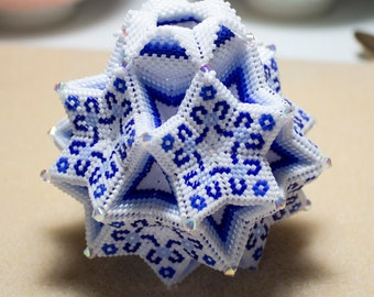 Beading Pattern - Tutorial -  Ornament - Stargazer Vase - peyote stitch - geometric - Vase - River Collection - PDF download - Gift