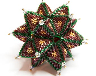 Beading Pattern - Tutorial - Christmas Ornament - Secret Star - Peyote Stitch - PDF download