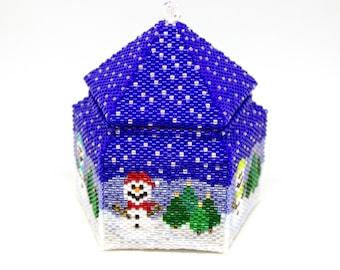 Beading Pattern - Tutorial -  Ornament - The Snowman Box - Gift Box - Tea Light Holder - Christmas - PDF download