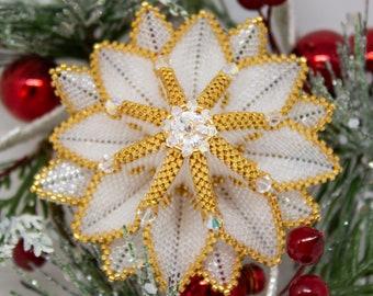 Beading Pattern - Tutorial -  Ornament - The Sunburst Ornament - Christmas - PDF download - Christmas Ornament