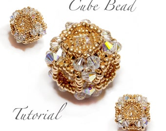 Beading Pattern - Cube - Beaded Bead - tutorial - PDF