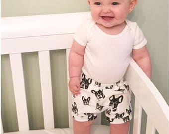 35468b383 French Bulldog Organic Baby Shorts, Frenchie Baby Bloomers, Newborn Shorts,  Sustainable Baby Clothing, Pregnancy Gift, New Mother Gift