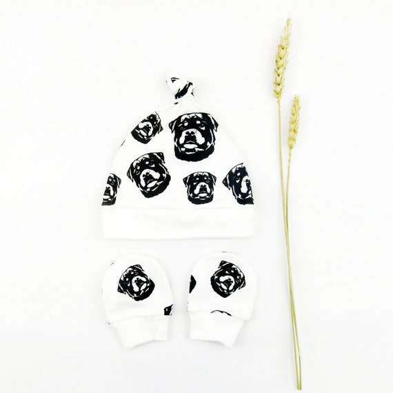 d03313770 Organic Baby Hat And Mittens Set With Rottweiler Print New