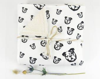 Organic Cotton And Organic Cotton Plush Warm Baby Blanket With Bulldog Print, Organic Newborn Blanket, Baby Tummy Time Blanket, Baby Gift