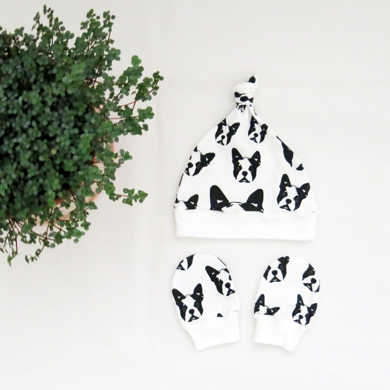 Organic Baby Hat And Mittens With Boston Terrier Print Newborn Gift Baby Shower Gift For Dog Lover Baby Boy Clothes Boston Terrier Gift