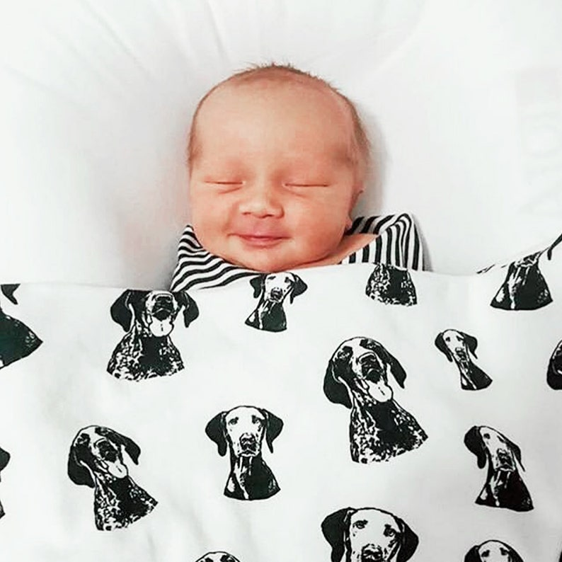 Personalized Baby Swaddle Blanket, Dog Baby Announcement, Custom Organic  Cotton Baby Blanket, Custom Dog Owner Gift, Baby Receiving Blanket