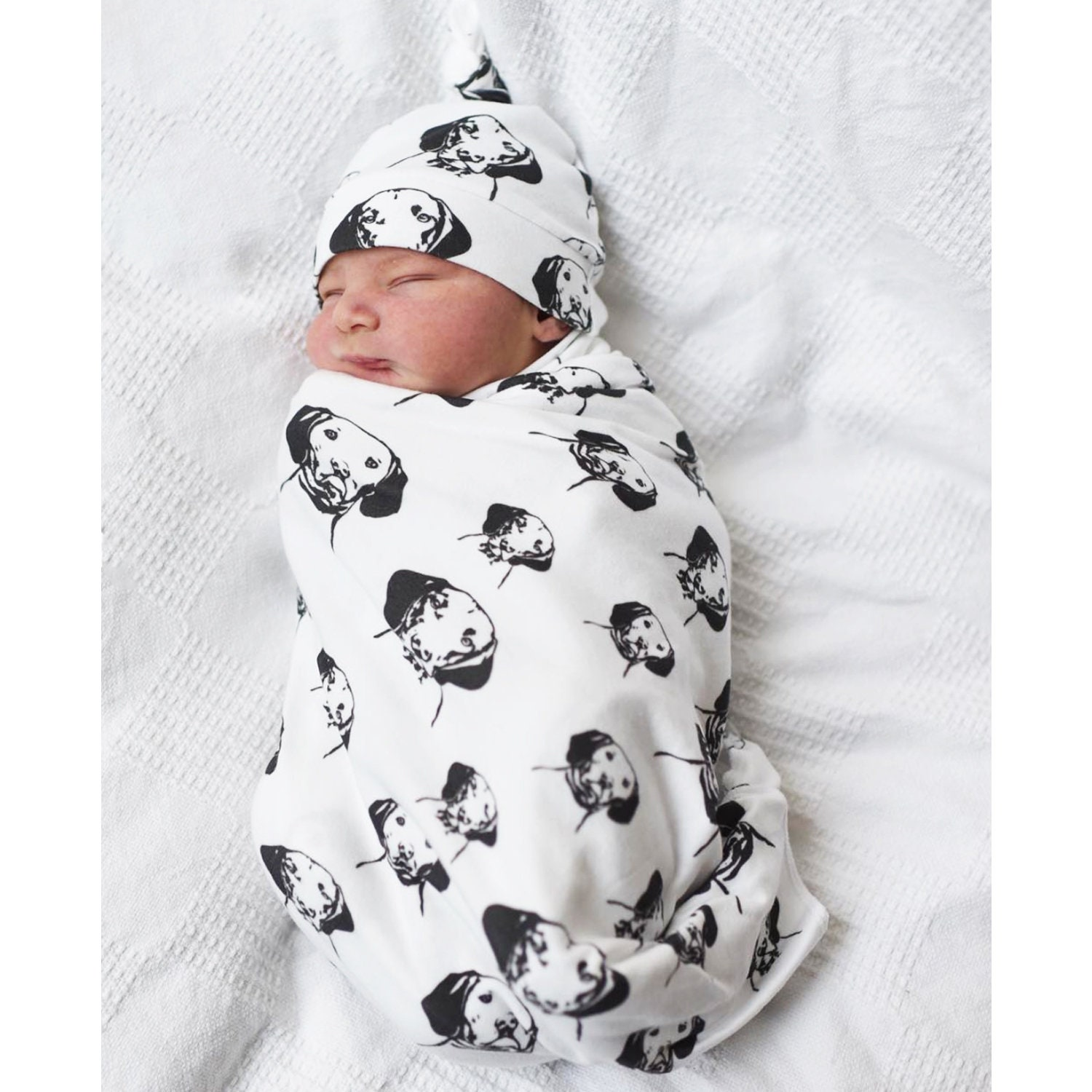 Personalized Organic New Baby Swaddle Blanket Leggings Hat Mittens Set,  Personalised Dog Print Baby Gift, Organic Baby Coming Home Outfit