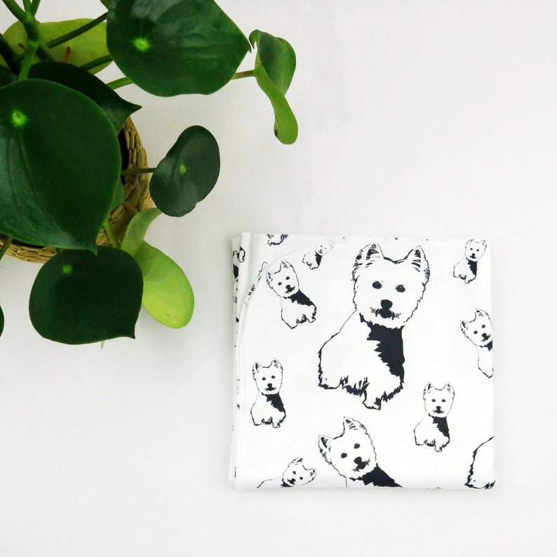 Newborn Set Baby Shower Dog Owner West Highland Terrier Print Swaddling Blanket Organic Cotton Newborn Blanket Pregnancy Gift Dog Lover