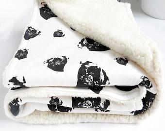 "Organic Cotton Nursery Blanket With Pug Print, Baby Boy Blanket, Blanket For Baby Girls, Tummy Time Blanket, Soft Baby Blanket, Size 35x35"""