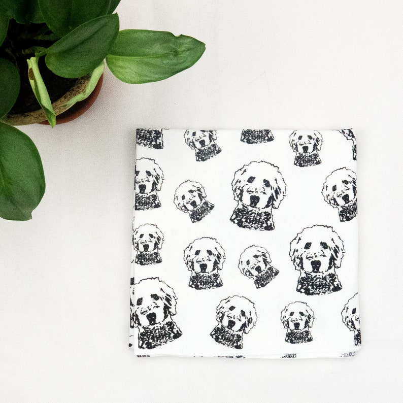 Goldendoodle Print Organic Cotton Baby Swaddle Blanket, Baby Shower Gift  For Dog Lover, Nursery Blanket For Baby Girls And Boys Size 35x35