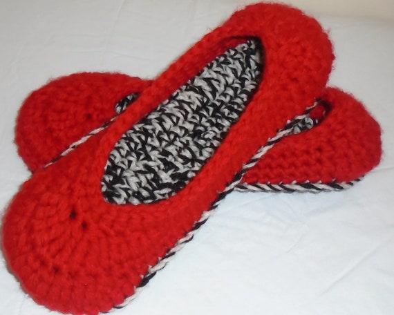 Crochet ballet flat Red house slippers