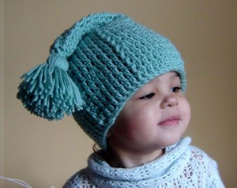 PDF Instant Download Easy Crochet Pattern No082 Green Tassel Hat All sizes Baby Toddler Child Adult