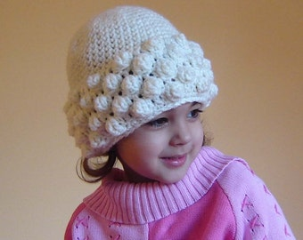 PDF Instant Download Crochet Pattern No 091 White Popcorn Hat All Sizes Preemie Baby Toddler Child Teen Adult